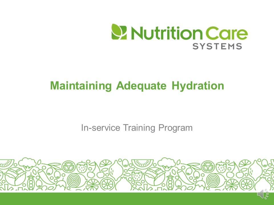 Maintaining Adequate Hydration 2021 Screen Shot
