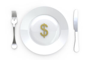 Dollar Sign In Plate With Knife And Fork